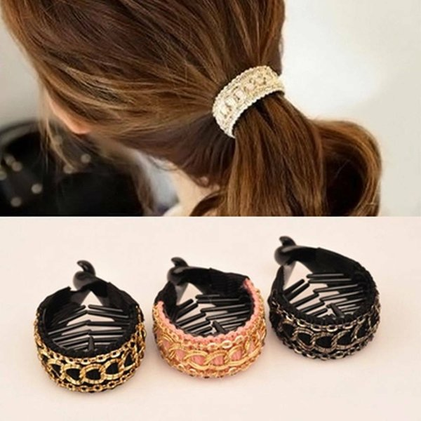 Pink Fashion Popular Korean Version Of The New Woven Chain Grab Clip Ponytail Clip Hair Accessories Fabric Headdress 3 Color Options