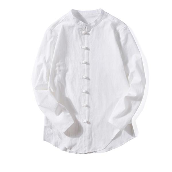 Мужчины Льняная Рубашка Китайский Стиль Мужская Рубашка Стенд Воротник Полный Рукав Кнопки Топы Старинные Сплошной Цвет Рубашки Мужчины Плюс Размер Гавайский