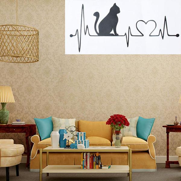 Adesivo da parete Gatto con elettrocardiogramma da cartone animato Adesivo per auto portatile Adesivo in vinile per pareti della camera da letto Cucina Soggiorno