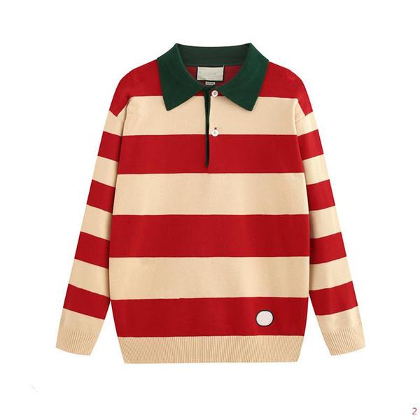 Camisolas de luxo designer para mulheres dos homens Autumn Marca camisola com lapela pescoço Moda Masculina camisolas com Cartas Padrão Tops Roupa S-2XL