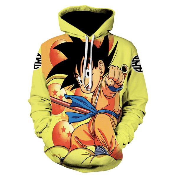 wholesale Brand Dragon Ball Z Hoodies Kid Goku Clothing Gum Cloud Sweat shirt Hoodie 3d hoodies Sweatshirts Male Men Hood Anime