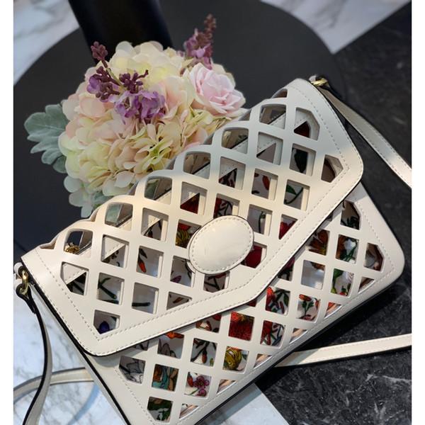 2019 diseñador de moda de marca mujer bolsos de mensajero carteras ahueca hacia fuera el diseño primavera verano nuevo estilo ladiy cinturón bolsos de cuero genuino