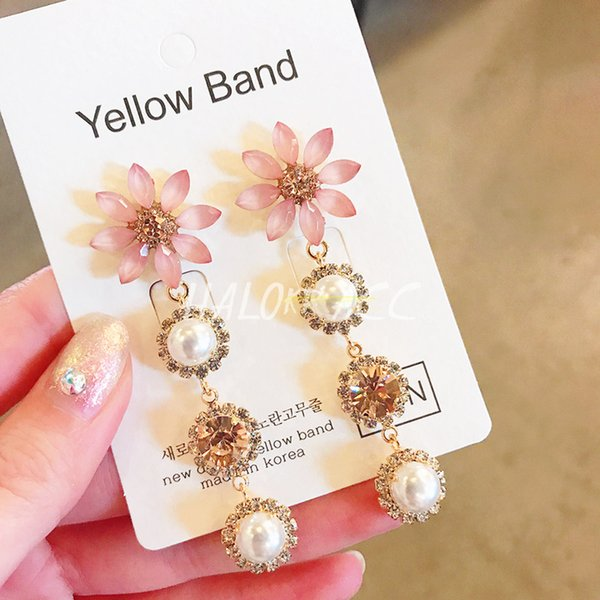 Korean New Elegant Crystal Flower Long Full Rhinestone Pearl Drop Earrings Fashion Women Statement Oorbellen 2019 Jewelry