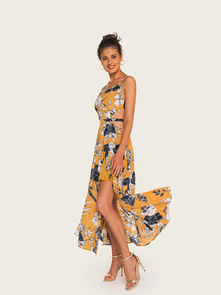 2019 Summer Vacation Flora Printed Dresses Spaghetti Strap Ankle Length Backless Sexy Dress Women Split Party Style Skirt