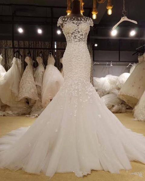 Glamorous Appliques Cap Sleeve Mermaid Wedding Dress 2019 Vintage Scoop Neck Trumpet Bride Gown Robe De Mariage Plus Size