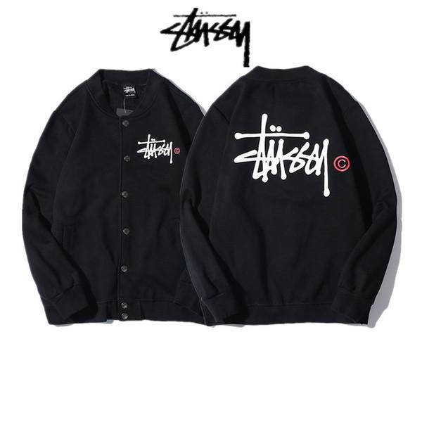 2019 Frühjahr / Herbst Dünnschliff der Street Fashion Chic Stu 2sy Baseball Uniform Pullover Männer und Frauen klassische Logo Paar Strickjacke jacke