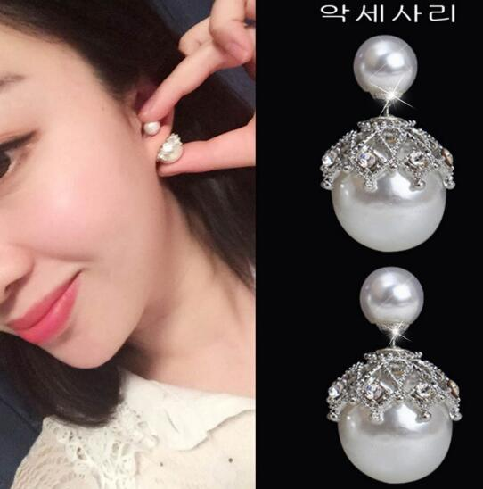 new hot Lace stud earrings are simple in size and double-sided pearl hollowed zircon earrings are stylish, classic and elegant