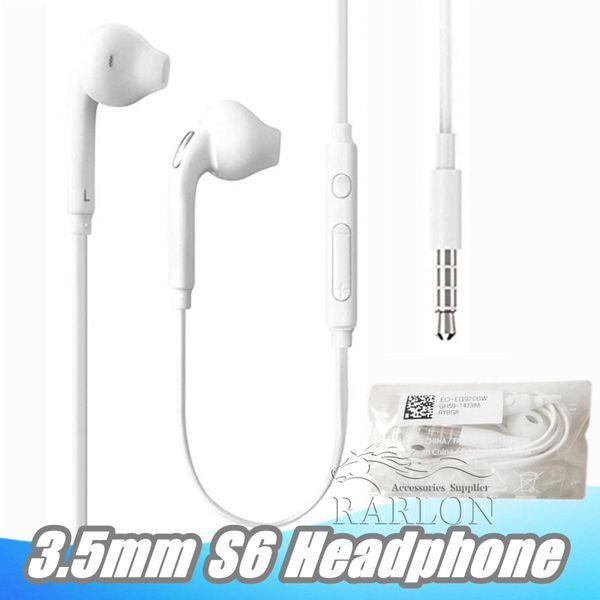 3.5mm Kulak Kablolu Kulaklık Kulakiçi Kulaklık Ile Mic ve Uzaktan Ses Kontrolü Kulaklıklar Samsung Galaxy S6 S8 S9 Ambalaj Olmadan