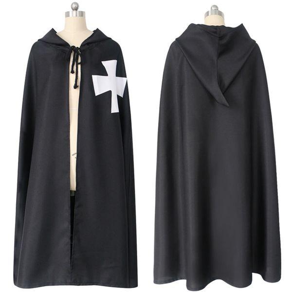 Yetişkin Cadılar Bayramı 2adet için Erkekler Cape Cloak Robe Tunik Gömlek Kıyafet Ortaçağ Roma Katolik Templar Şövalyeleri Haçlı Savaşı Kostüm Set