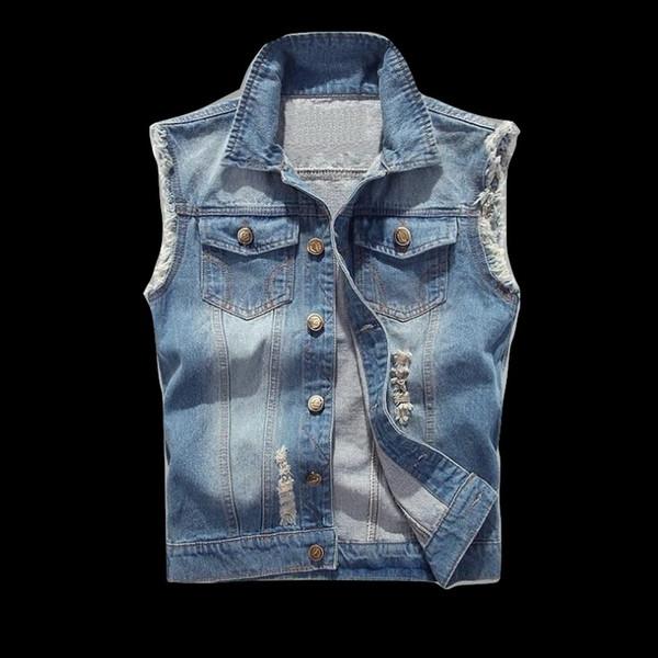 2019 hommes jean denim gilet manteau déchiré gland poche sans manches veste printemps homme streetwear cowboy gilet trou cassé vestes