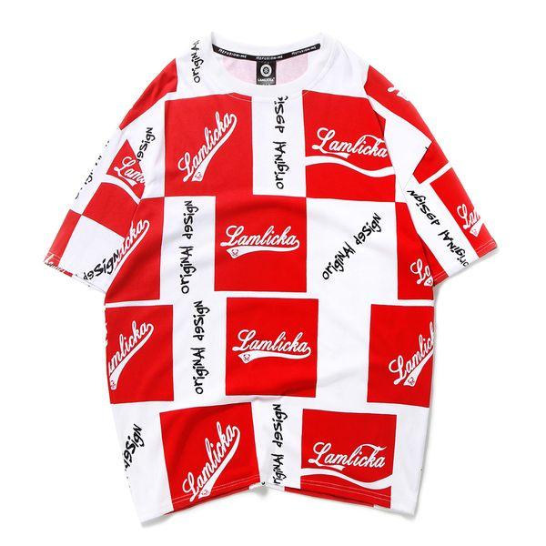 Mens designer t shirt t camisa roupas verão novo vermelho e branco watermark impressão em torno do pescoço de manga curta tamanho grande solta XL t-shirt