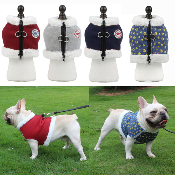 Wool Padded Pet Harness Vest And 1.5M Leash Set For French Bulldog Pug No Pull Winter Warm Cat Clothes Reflective Dog Harnesses Wholesale