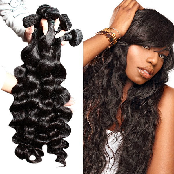 top popular Bella Hair® Brazilian Hair Extensions Indian Virgin Human Hair Bundles Loose Deep Wave Dyeable Natural Color Hair Weave 4pcs lot 2020