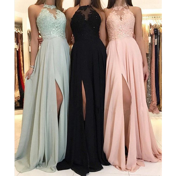 Günstige Strandhalter Langes Abendkleid reizvolle bloße Appliques-Abend-Partei-Kleid-Spitze-Sleeveless Kleid Prom Wear