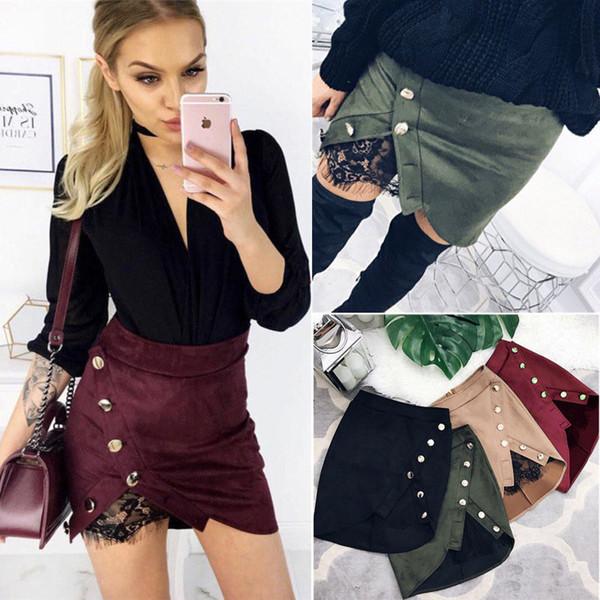 Femmes Jupes Taille Haute Lace Up Suede Leather Pocket Preppy Court Mini Jupes Nouveau Mode Femmes Vêtements Sexy