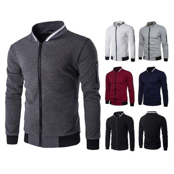 Men's cotton casual hoodie brand diamond plaid casual cardigan zipper jacket warm sweatshirt Slim men's jacket