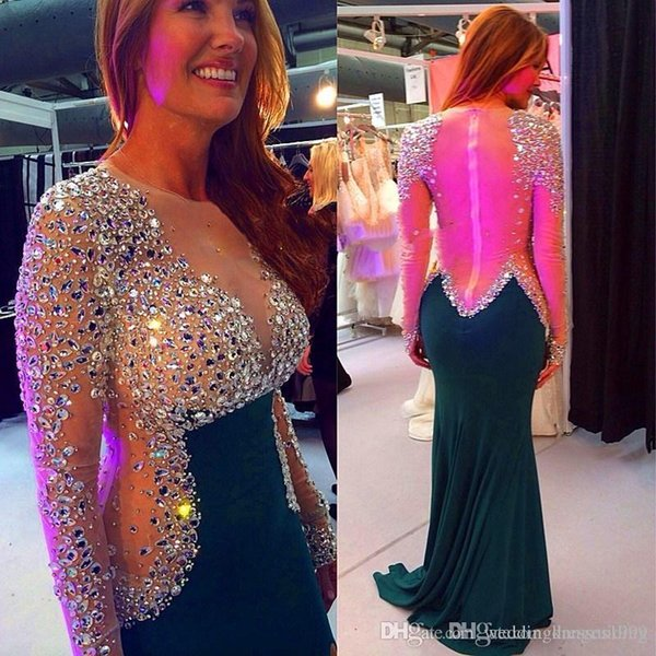 Free Shipping Custom Made 2017 Long Sleeve Sheer Back Beaded Cheap Evening Dresses Prom Dress Party Dress Discount Promotion Dresses