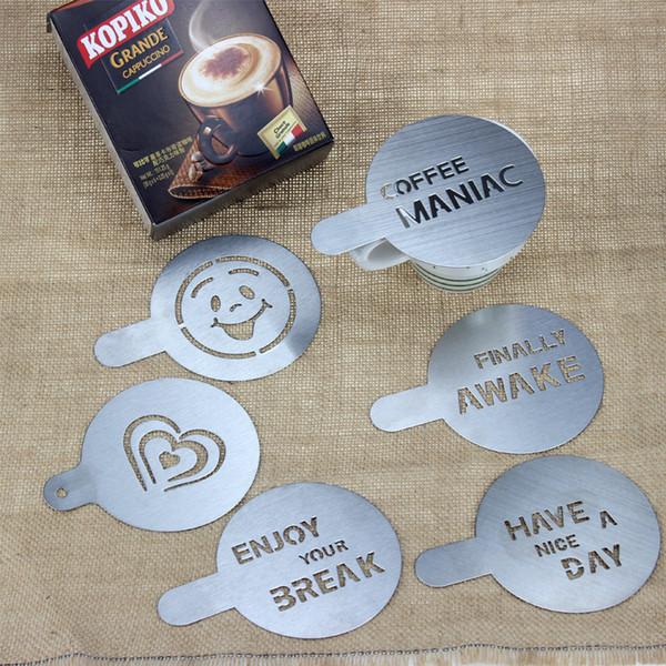 6 adet / grup Paslanmaz Çelik Metal Çikolata DIY Kahve Latte Sanat Kalıp Cappuccino Kahve Şablonlar Barista Kahve Araçları 100mm