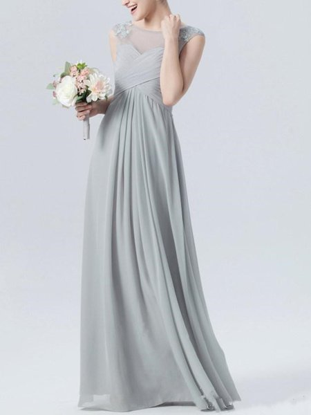 2019 spring style Scoop Neck Lace Appliques Bridesmaid Dresses Cap Sleeves Long Ruffle grey different color bridesmaid dress Custom Made