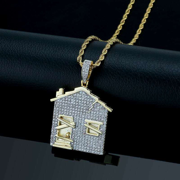 New Trendy Fashion Hip Hop Necklace Yellow Gold Plated Full CZ House Pendant Necklace for Men Nice Gift for Boy Friend