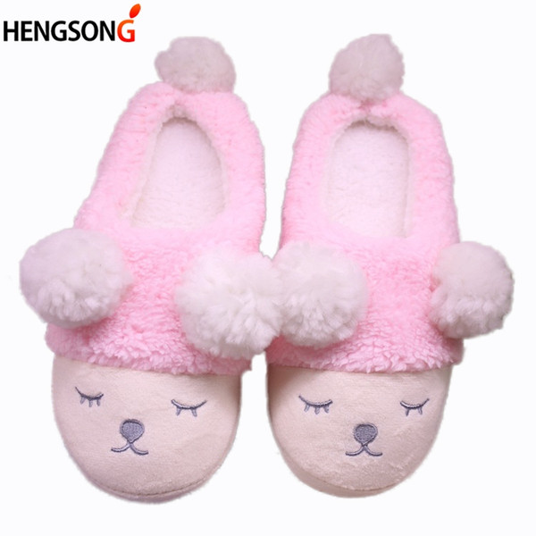 2019 Women Home Slippers Cute Sheep Animal Slippers For Couple Indoor Bedroom Female Shoes Winter Short Plush Slipper Flats