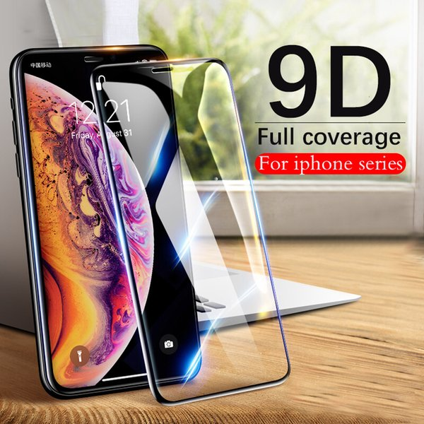 Vidrio protector de borde curvo 9d para iPhone X Xr Xs Max Protector de pantalla de cubierta completa para iPhone 7 6 S 8 Plus Película de vidrio de protección