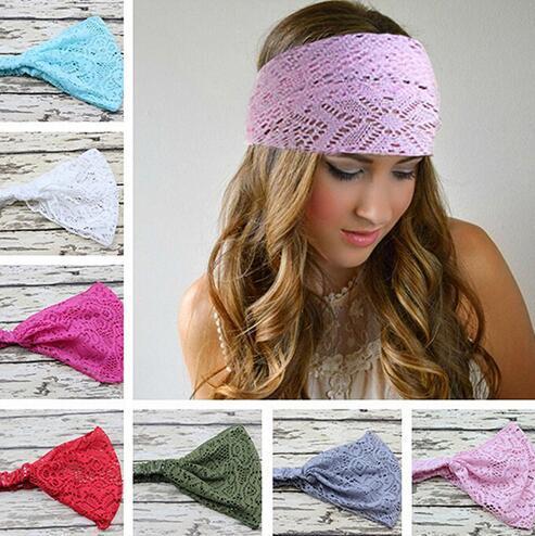 Women Elastic headband Fashion hollow out Stretchy Wide Head Band Lace Head Turban Bandanas Girl hair accessories GGA1697