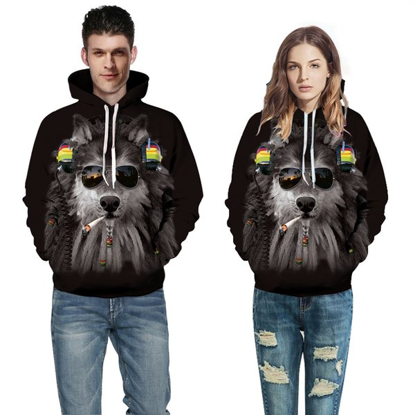 2018 European and American Couple Wear Sweater Wolf 3D Digital Printing Hat Baseball Suit Autumn Winter Wear A0372