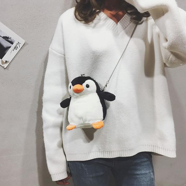 Cute small bag cute girl wild chain small bag chic new personality fashion plush penguin shoulder Women Bags