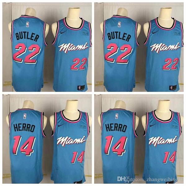 Men Miami Heat 22 Jimmy Butler 14 Tyler Herro Bule 201920 Swingman Nba Jersey Icon Edition Black Buy At The Price Of 24 85 In Dhgate Com Imall Com
