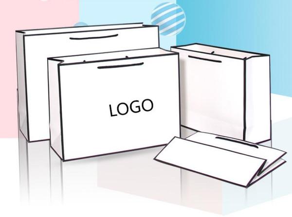 Neuer kreativer Entwurf schwarzer Rand weiße Kraftpapiertüte mit Griff Hochzeitsfestbevorzugungs-Papiergeschenk sackt kundenspezifisches Logo SN3134 ein