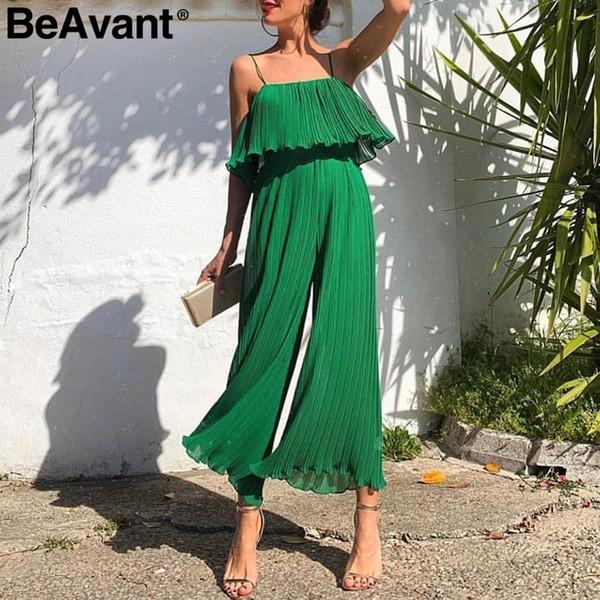 Beavant Spaghetti Strap Summer Jumpsuit Women Elegant Ruffled Pleated Female Jumpsuits High Waist Wide-leg Overalls Romper Green C19040402