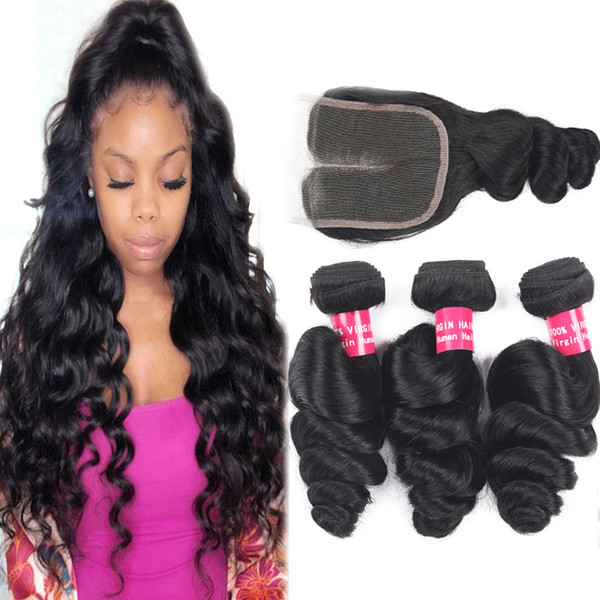 top popular 9A Brazilian Loose Wave Virgin Hair Extensions Wholesale 3 4Bundles With 4x4 Lace Closure Curly Deep Wave Human Hair Bundles With Closure 2021