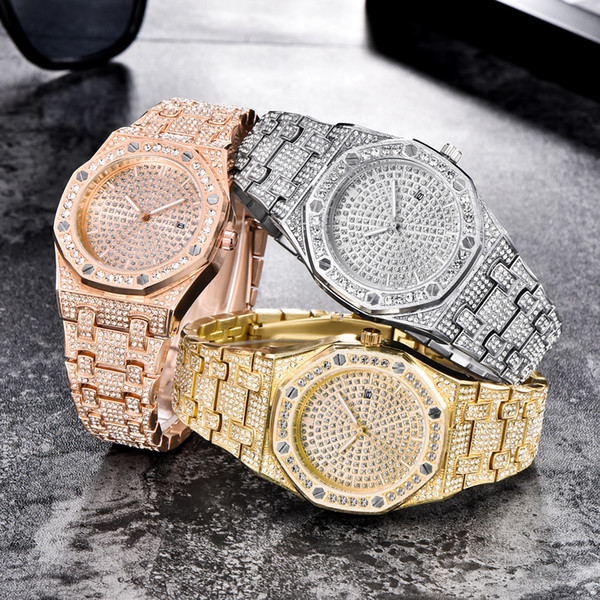 Luxury Gold Watches For Men Fashion Bling Zircon Paved 18K Gold Rhodium Plated Quartz-Battery Wristwatches For Hip Hop Rappers
