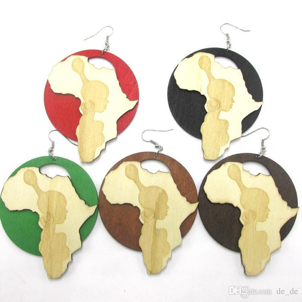 Wholesale- Free Shipping! Newest African Girl Wooden Earrings can mixed 5 colors