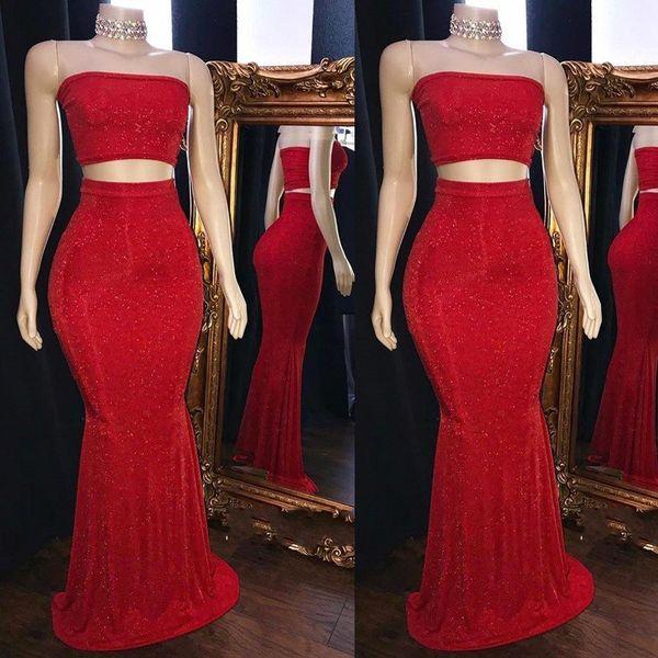 Sexy rosso due pezzi Paillettes Prom Dresses 2019 New senza spalline Sirena abiti da sera senza maniche BC1425
