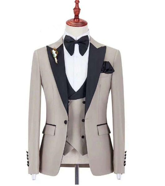 Модные мужские пуговицы для жениха на пуговицах на пуговицах для жениха / невесты / свадьба / выпускной / ужин Лучший пиджак (куртка + брюки + галстук + жилет) AA221