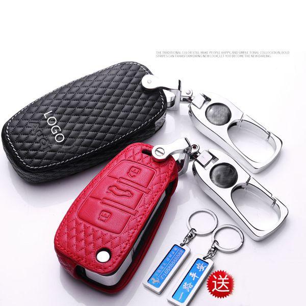 Cover chiavi auto nuova Pelle di vacchetta per Audi a1 A3 a4 a5 a6l a7 a8 q3 q5 Q7 Portachiavi con numero telefonico personalizzabile Accessori auto