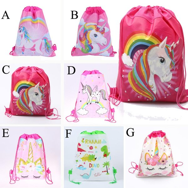 best selling Unicorn Drawstring bag for Girls Travel Storage Package Cartoon School Backpacks Children Birthday Party Favors Outdoor Travel Bags C23