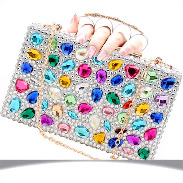 Women Silver Handbags Clutch Bags Crystal Finger Ring Ladies Evening Bags Diamond Wedding Bridal Luxury Purse Small Shoulder Bag