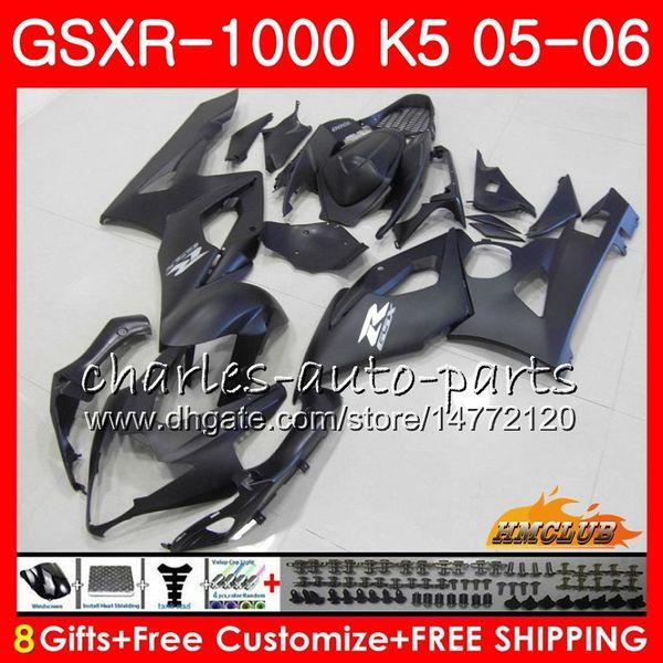 Carrocería para SUZUKI GSXR-1000 K5 GSXR1000 05 06 Kit de carrocería Plano negro caliente 11HC.127 GSX R1000 GSXR 1000 2005 2006 GSX-R1000 05 06 Carenado + Capucha