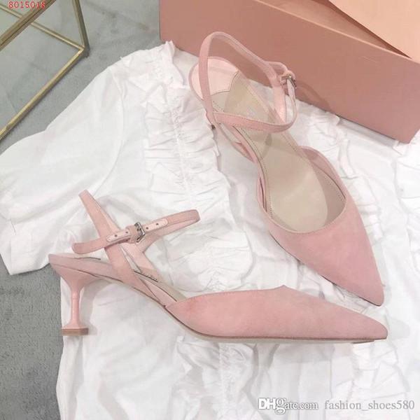 Sommer neuen Stil Damen Sandalen mit spitzen flachen Schuhen rosa und Romance Echtleder Komfort Luxusmarken hohe qu