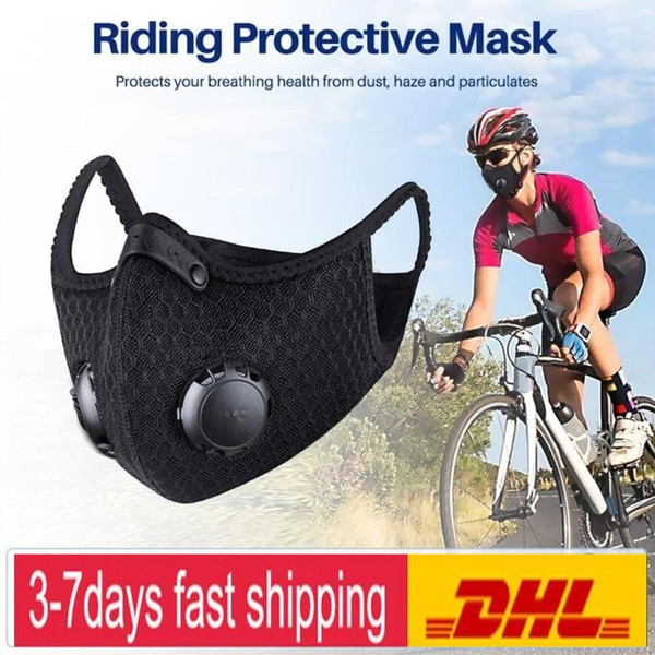 top popular US Stock Cycling Protective Mask With Filter Activated Carbon PM2.5 Anti-Pollution Sport Running Training MTB Road Bike Cycling Mask 2020