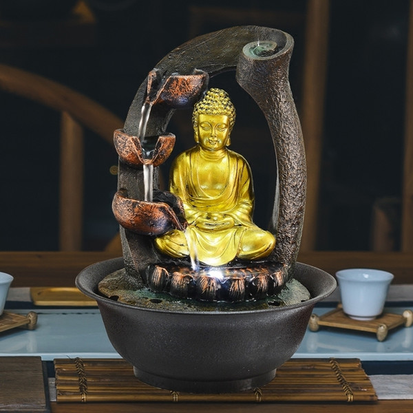 2019 Buddha Statue Decorative Fountains Indoor Water Fountains Resin Crafts Gifts Feng Shui Desktop Home Fountain 110v 220v E From Tim2012 75 38