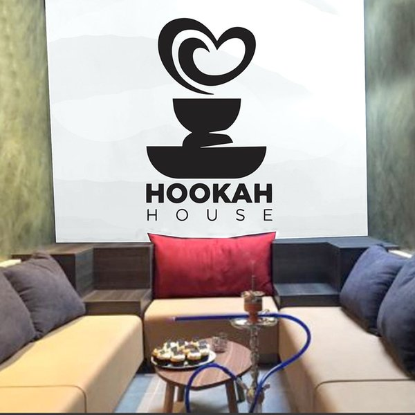Hookah House Wall Decal Quotes Hookah Shop Art Wall Stickers Vinyl Sticker Die Cut Shisha Bar Pattern Removable B326 Wall Lettering Decals Wall Motifs