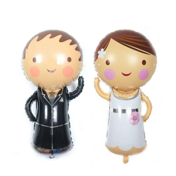 45 * 86 cm ballons de mariage en aluminium Groom and Bride gonflable pour mariage décoration avant la Saint-Valentin Party Cartoon Decor balles