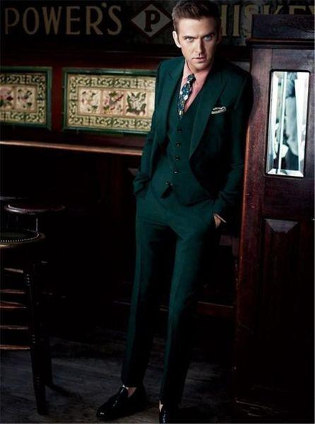 Elegant Dark Green Wedding Men Suit Slim Fit 3 Pieces Formal Prom Tuxedo Custom Groom Men Dinner Party Suits (Jacket+Vest+Pants)