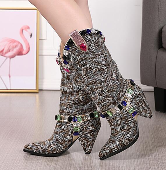 2019 Handmade Rhinestone Over Knee High Boots Woman Point Toe Strange Crystal High Heel Boots Woman Bling Long Boots