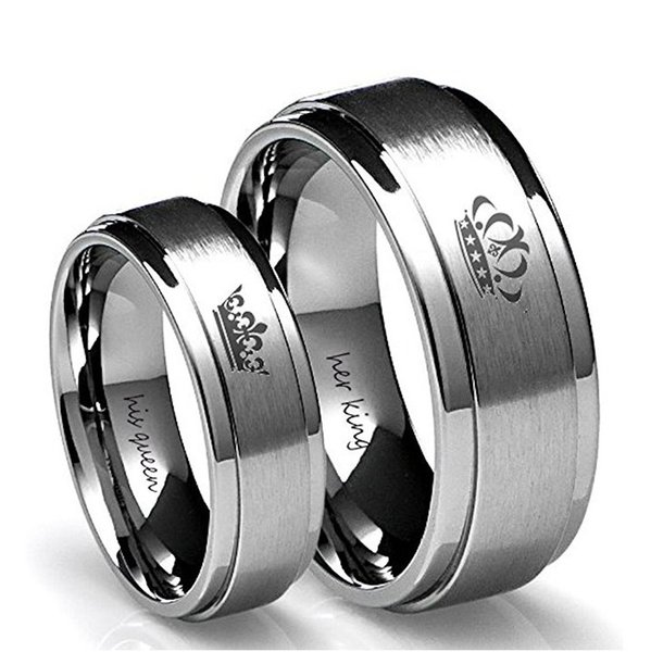 6mm IP Black Plated Color 316L Stainless Steel HIS QUEEN and HER KING Couple Rings for Lovers K3492