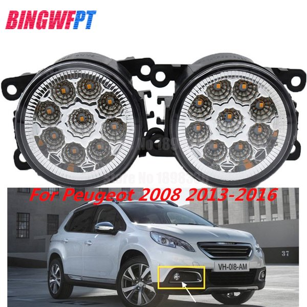 2PCS LED white yellow Front Fog Lights For Peugeot 2008 2013-2016 Car Styling Round Bumper